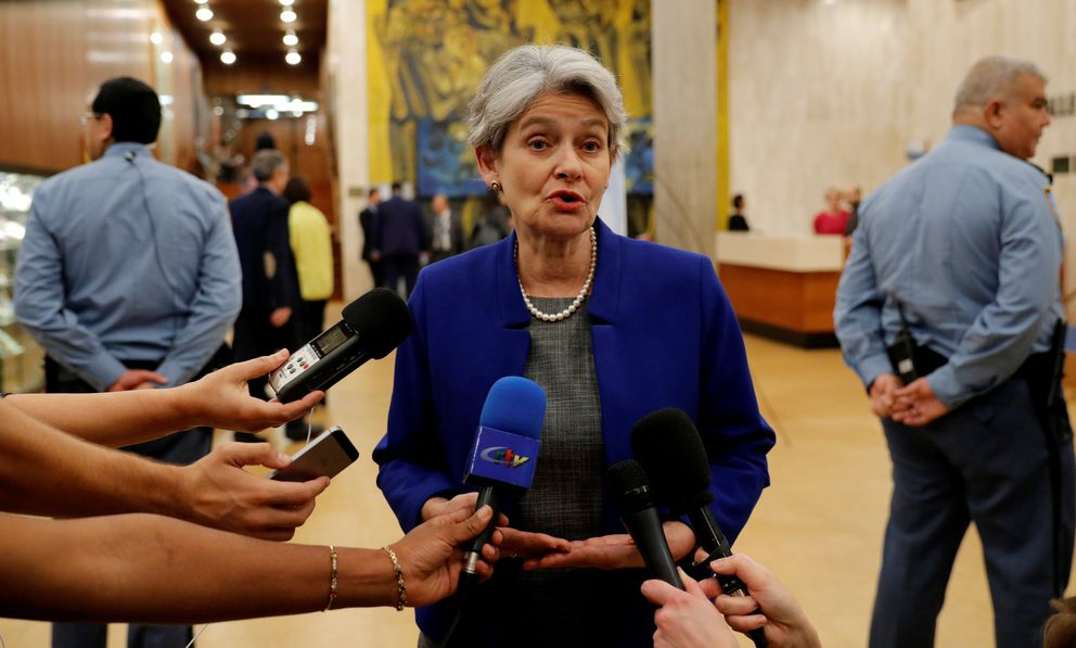 Irina Bokova, Director General of UNESCO, talks to journalists at the headquarters of the United Nations Educational, Scientific and Cultural Organization (UNESCO) in Paris, October 12, 2017. REUTERS/Philippe Wojazer