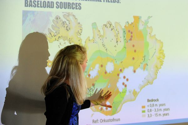 Halla Hrund Logadottir, a Louis Bacon Environmental leadership Fellow at Harvard Kennedy School and the former Director of Reykjavik University's School of Energy, gives a presentation called Lessons from Iceland: How to Reinvent an Economy, during the Arctic Council sessions at the University of Alaska Fairbanks in Fairbanks, Alaska on Wednesday, May 10, 2017. (Bob Hallinen / Alaska Dispatch News)