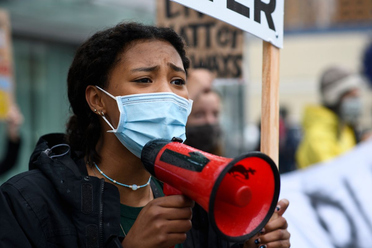Madisen Talton, 17, leads chants in a rally to support the Black Lives Matter movement in downtown Anchorage on July 24, 2020. (Marc Lester / ADN)