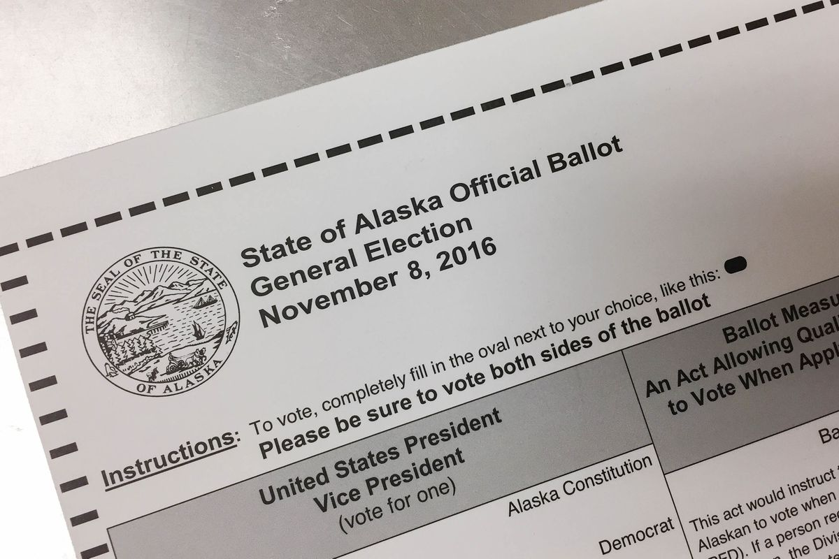 A state of Alaska ballot for the Nov. 8, 2016 general election, photographed during early voting at Division II headquarters on Friday, Oct. 28, 2016. (Loren Holmes / Alaska Dispatch News)