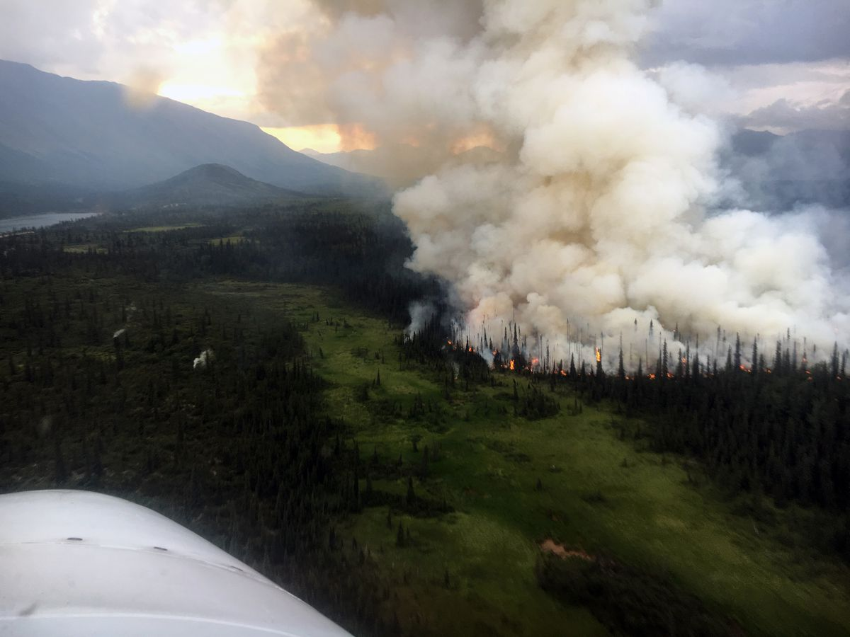 A smoke plume from the Rainy Pass fire, photographed around 9 p.m. Tuesday, July 23, 2019. (Alaska Division of Forestry Air Attack)