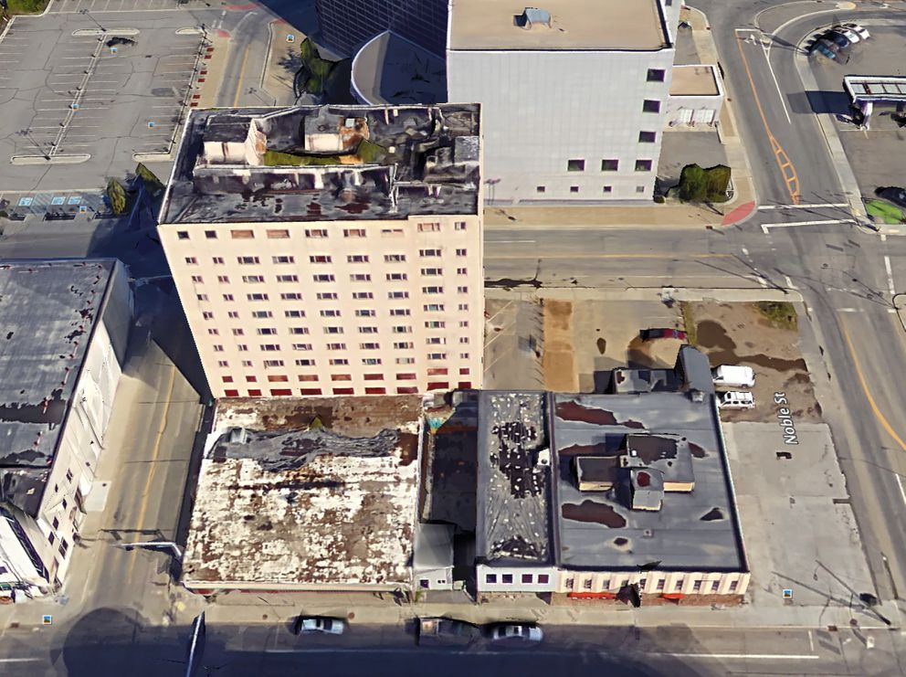 Trees are growing on the roof of the Polaris Building in downtown Fairbanks. (Image screen grab from Google Earth)