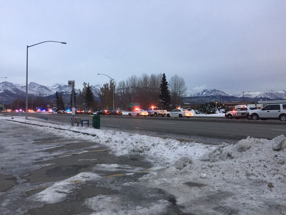 This procession of Anchorage police vehicles drove down Tudor Road around 6 p.m. Friday, Oct. 28, 2016, following Sgt. Allen Brandt's body to the State Medical Examiner's Office. (Loren Holmes / Alaska Dispatch News)
