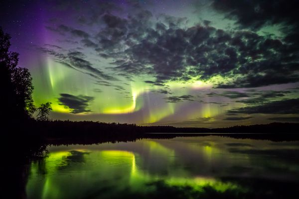A colorful northern lights display, captured in August near Talkeetna. (Photo by Dora Redman)