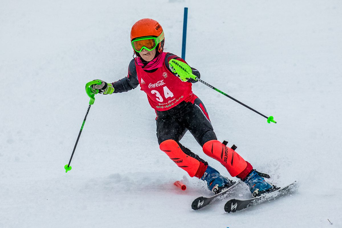 Looking thoughtful on course, Brooke-Lynne Allard put together two strong second-place runs to win the girls' slalom Saturday at Alyeska. (Photo by Bob Eastaugh)