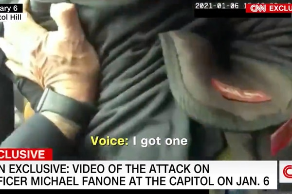 Body camera footage from D.C. police officer Michael Fanone shows him pleading for help after being Tasered and beaten by rioters at the U.S. Capitol on Jan. 6. (CNN)