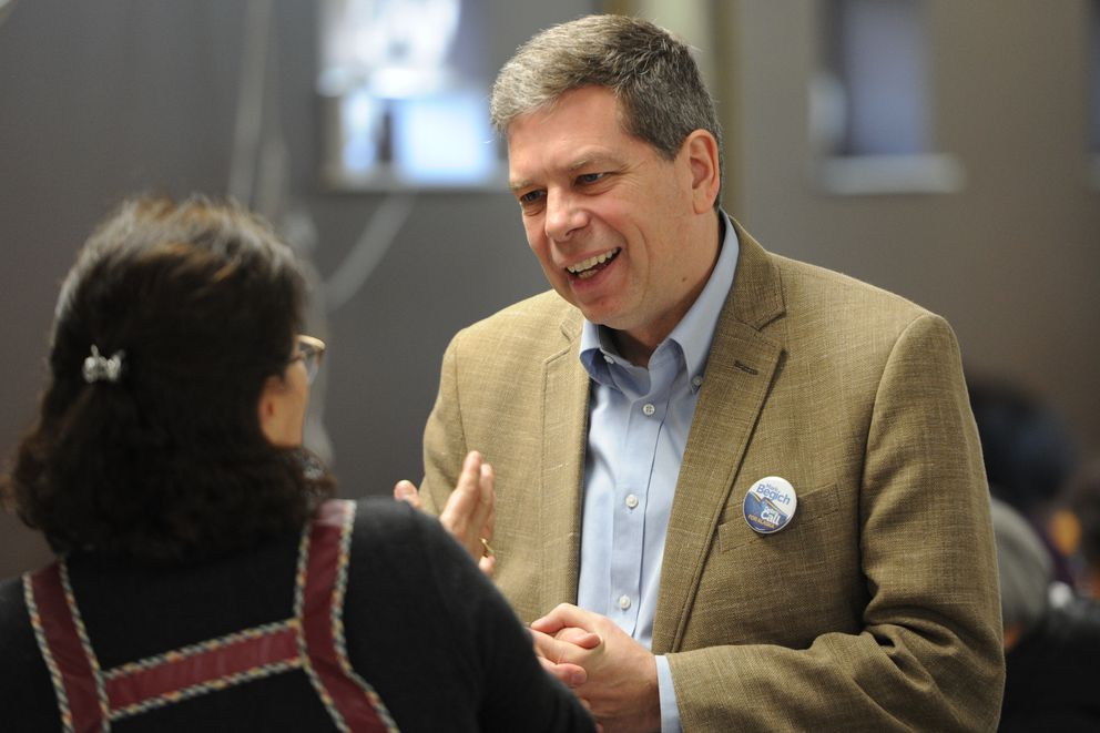 Democratic gubernatorial candidate Mark Begich made a visit to St. Andrew Kim Parish on Sunday, Nov. 4, 2018, while on the campaign trail with two days left before Election Day. (Bill Roth / ADN)