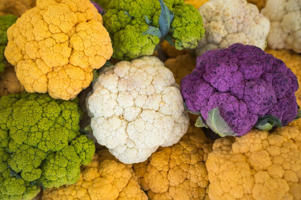 Multi-colored cauliflower for sale at the South Anchorage Farmers Market on Aug. 17, 2019. (Loren Holmes / ADN)