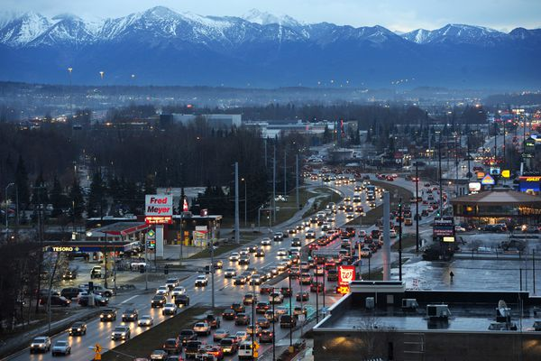 Seward Highway traffic as seen from atop the CIRI Fireweed Business Center on Monday, Nov. 19, 2018. The Alaska Department of Transportation and Public Facilities is studying ways to curb congestion in Midtown Anchorage between 20th Avenue and Tudor Road. The leading idea involves sinking down the Seward Highway and building large intersections into overpasses. (Bill Roth / ADN)