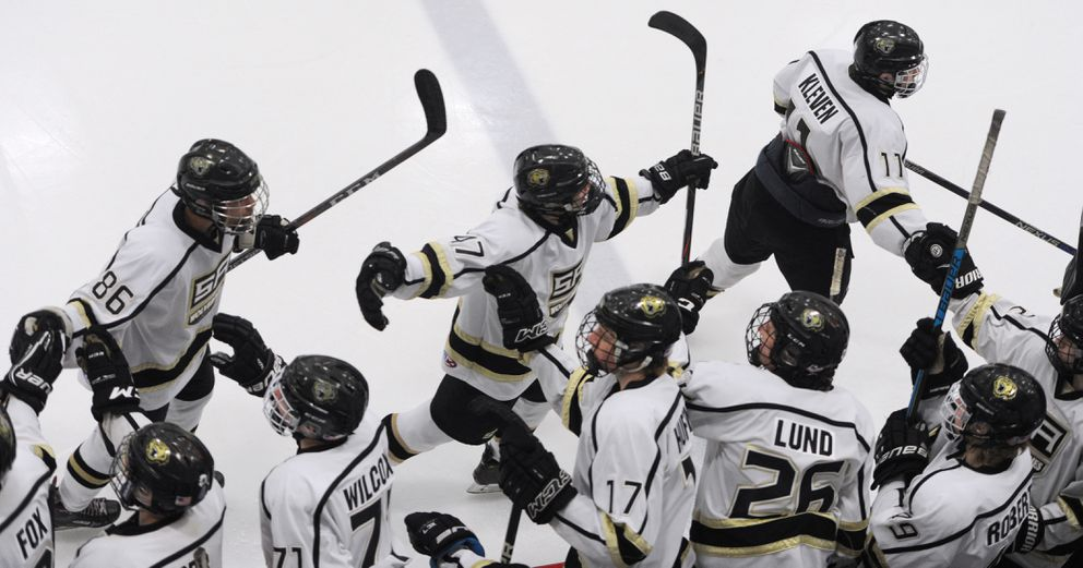 The Wolverines celebrate a goal during their 4-2 quarterfinal victory. (Bill Roth / ADN)