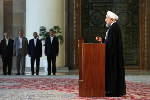 Iran's president Hassan Rouhani addresses the nation in a televised speech Tuesday minutes after a landmark nuclear agreement was announced in Vienna.