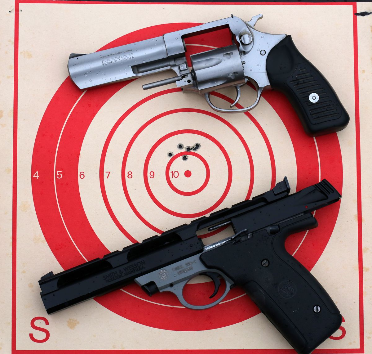 .22 caliber rimfire handguns in revolver or semi-auto variations are good first handgun choices. (Steve Meyer)