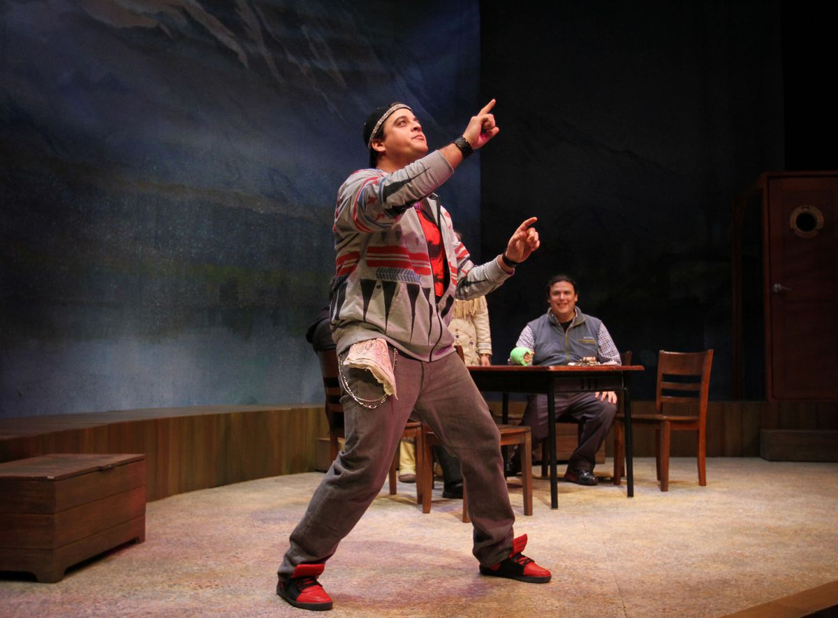 """Alec Shamas (Joker) and Frank Henry Katasse as William in """"William Inc.,"""" a new play from Perseverance Theatre. (Photo by Akiko Nishijima Rotch)"""