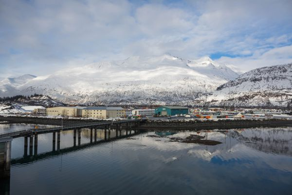 The town of Valdez, seen from the helipad of the 500-2 barge at the SERVS facility on Feb. 15, 2016. (Loren Holmes / Alaska Dispatch News)