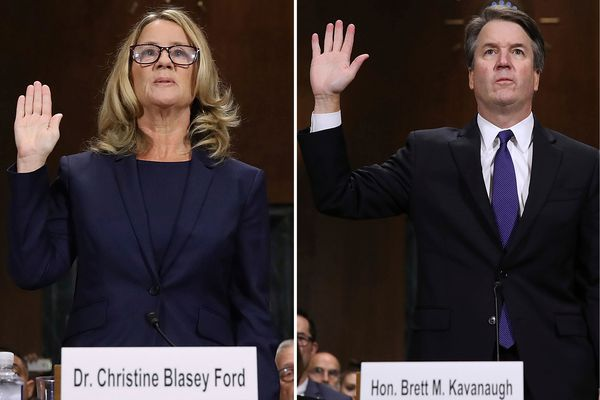 Christine Blasey Ford, left photo, and Judge Brett Kavanaugh are sworn in before testifying to the Senate Judiciary Committee during Kavanaugh's Supreme Court confirmation hearing on Capitol Hill in Washington on Thursday, Sept. 27, 2018. (Win McNamee/Pool Photos via AP)