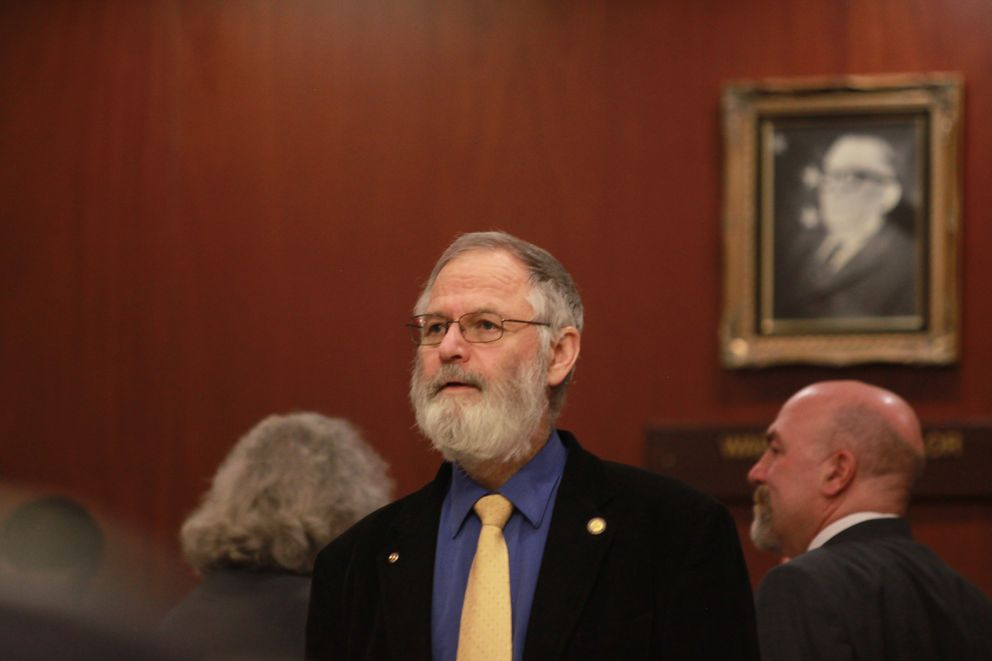 Homer Republican Rep. Paul Seaton during a break from the House's income tax debate Saturday. (Nathaniel Herz / Alaska Dispatch News)