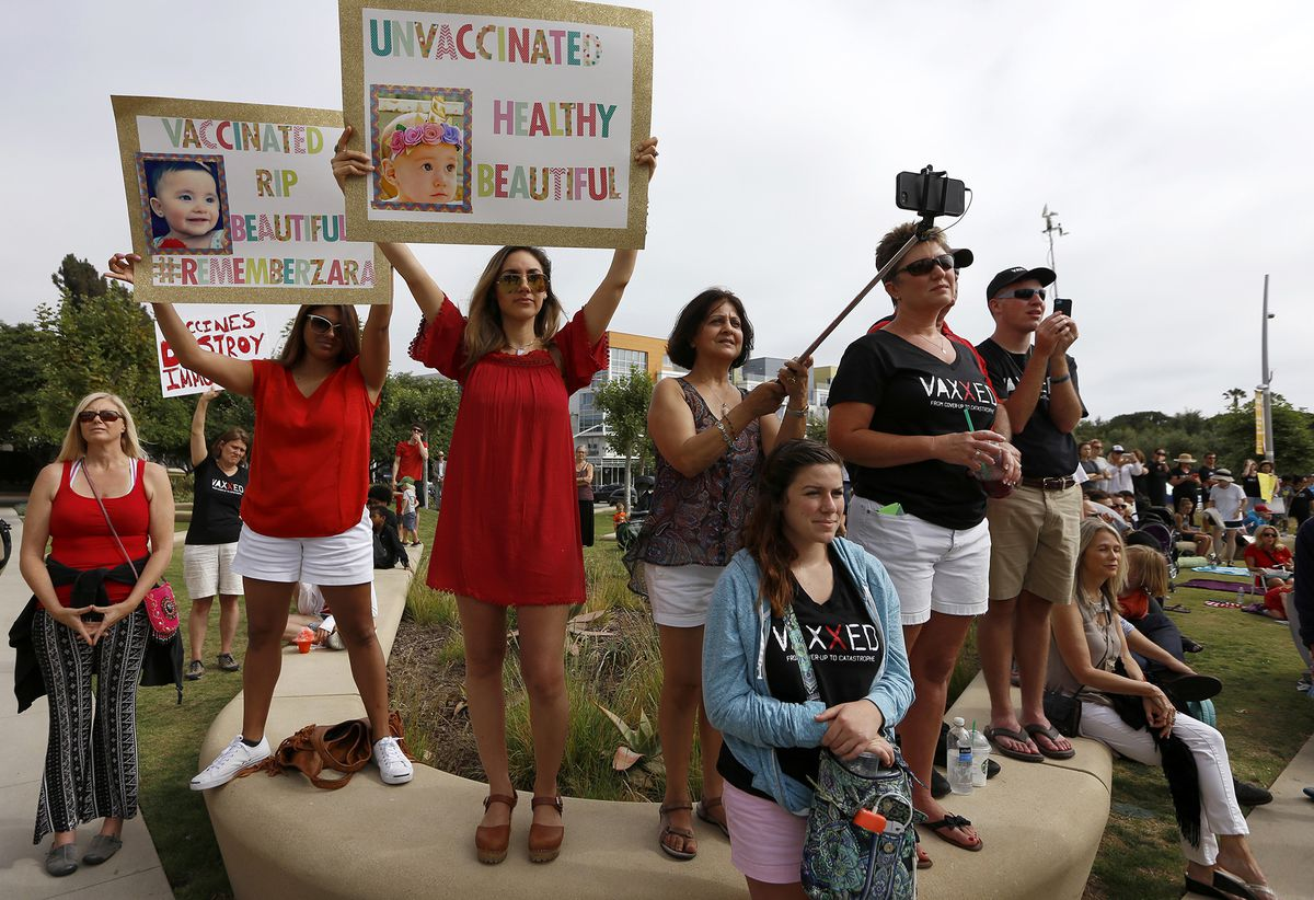 About 200 parents protest the start of SB277 in front of City Hall in Santa Monica, Calif., on July 1, 2016. (Francine Orr/Los Angeles Times/TNS)