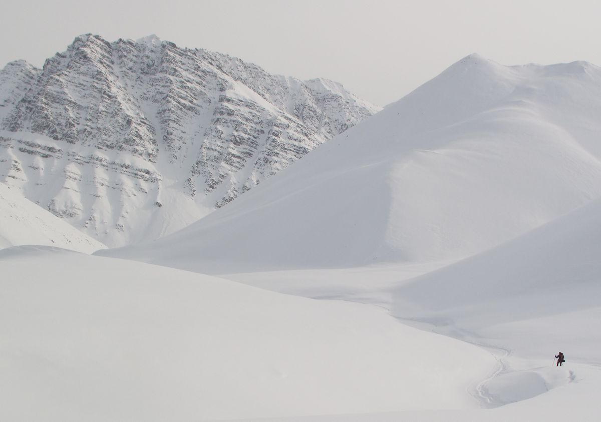 Michael Gibson skis through deep powder in the Brooks Range. (Photo by Ned Rozell)