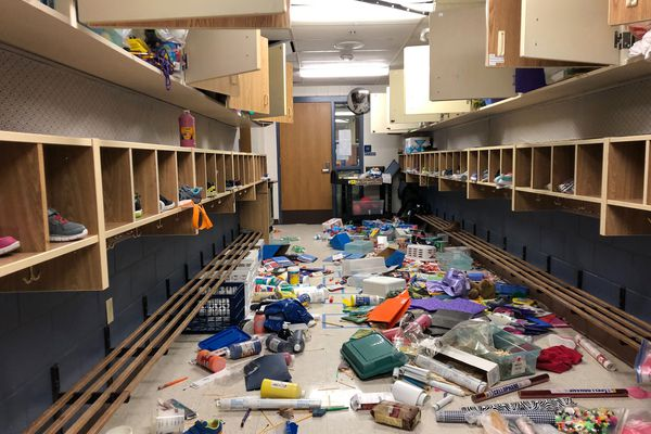 Eagle River Elementary School was heavily damaged in the Nov. 30, 2018 7.0 earthquake. Photographed Dec. 4, 2018. (Loren Holmes / ADN)