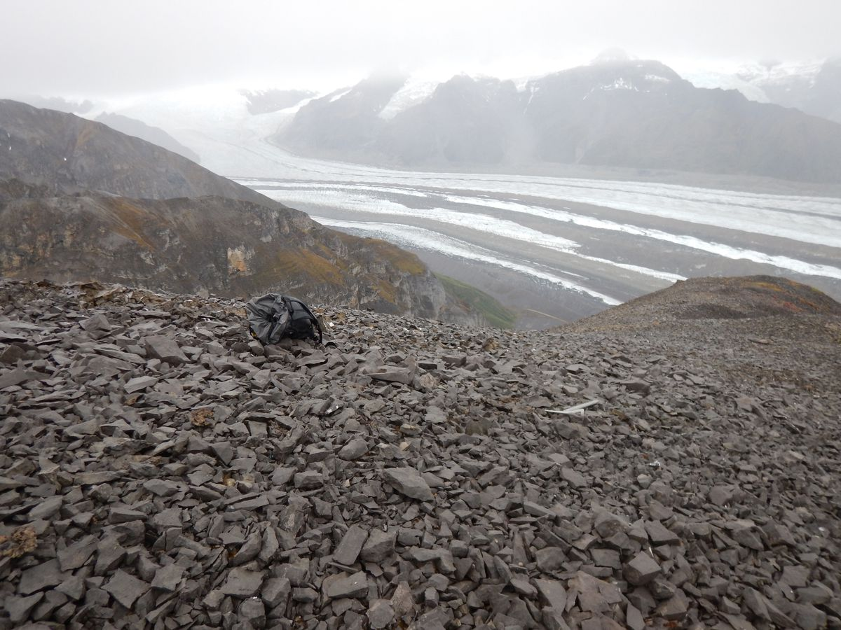 The summit ridge where David Whistler found an ichthyosaur jaw in 1963. The ice ax and backpack show the area where many more bones of the specimen were rediscovered in August 2017. (Pat Druckenmiller)