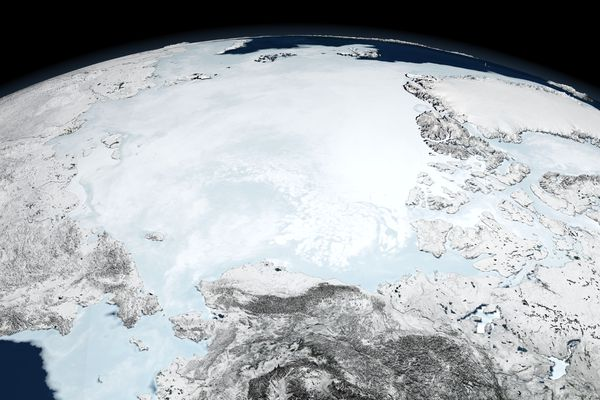 Arctic sea ice on March 10, 2008. The polar ice cap has been melting so quickly that once improbable ideas for commercial activities, including fishing near the North Pole, are becoming realistic. (NASA via The New York Times)