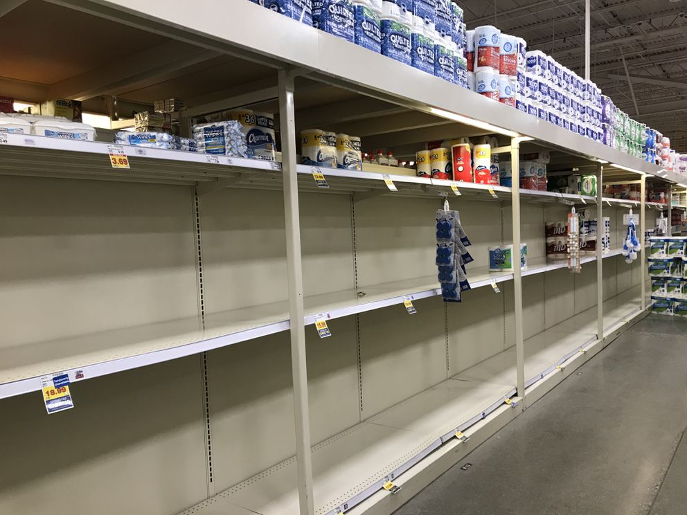 Toilet paper is running a little low at Fred Meyer on Dimond Boulevard. (Anne Raup / ADN)