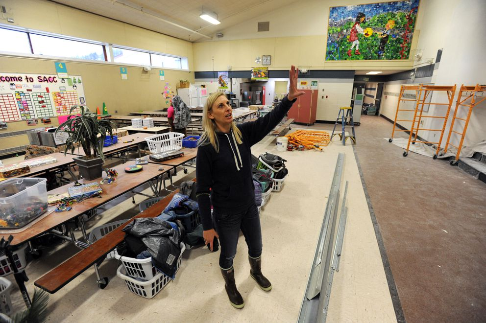 Bear Valley Elementary principal Carissa Coté points out earthquake damage being repaired in the multipurpose room on Wednesday, Dec. 5, 2018. (Bill Roth / ADN)