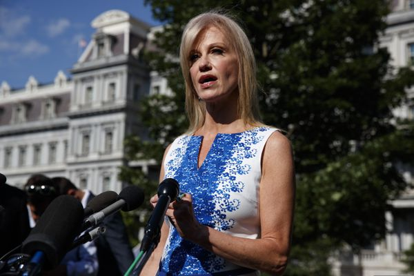 White House counselor Kellyanne Conway talks to reporters outside the White House, Monday, June 24, 2019, in Washington. (AP Photo/Evan Vucci)