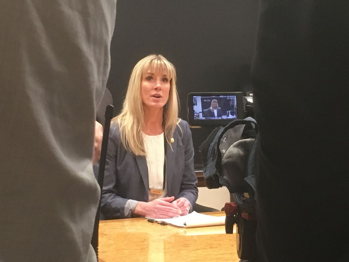 Amanda Price, commissioner-designee for the Alaska Department of Public Safety, appears during a press conference April 16, 2019. (James Brooks / ADN)