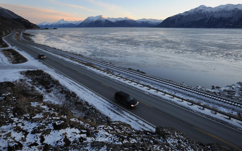 Traffic was light as motorists traveled along the Seward Highway south off McHugh Creek on Tuesday. (Bill Roth / Alaska Dispatch News)