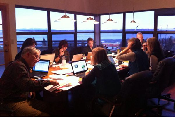 A small working committee plans the public transition meetings and workshops at the University of Alaska this weekend in a photo Tweeted by Walker spokesperson Grace Jang.