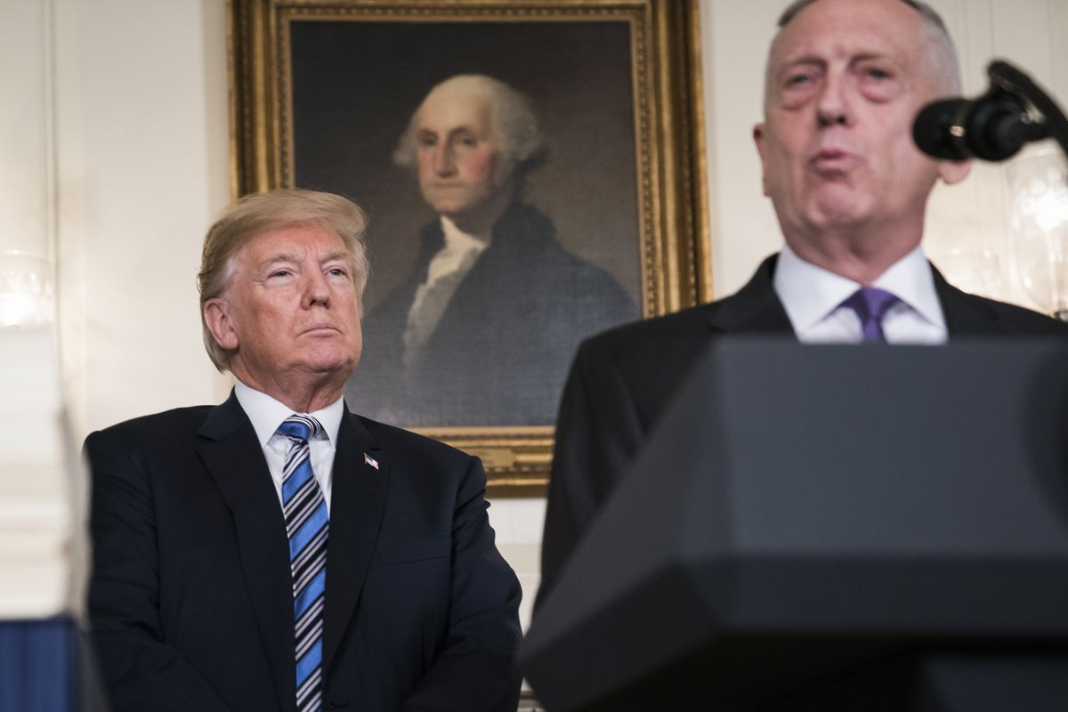 President Trump listens to Defense Secretary Jim Mattis speak in the Diplomatic Reception Room at the White House on March 23. MUST CREDIT: Washington Post photo by Jabin Botsford.