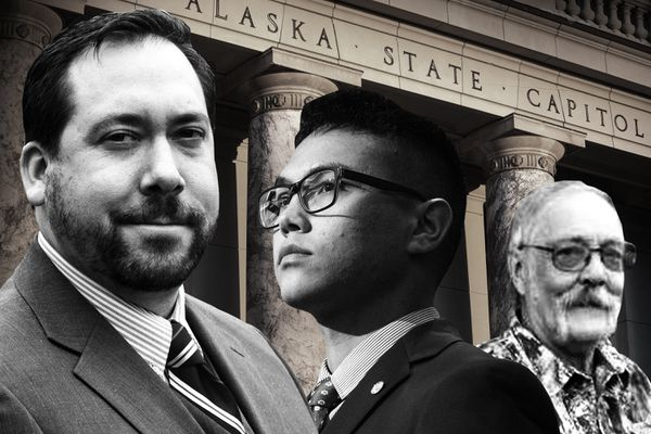 From left to right: Former Alaska state representative Zach Fansler, his aide Benjamin Anderson-Agimuk and Willy Keppel, who is running for Fansler's former seat. (Photo illustration by Shoshana Gordon/ProPublica; source images: Marc Lester and Loren Holmes/Anchorage Daily News, Facebook)