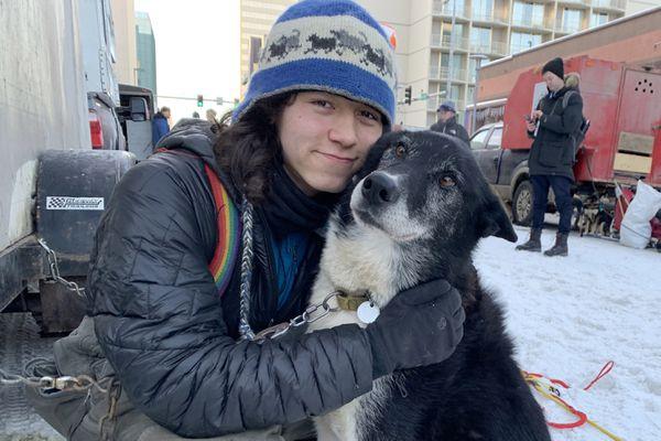 Martin Apayauq Reitan and Apok at the ceremonial start of the 2019 Iditarod, March 2, 2019. (Tegan Hanlon / ADN)
