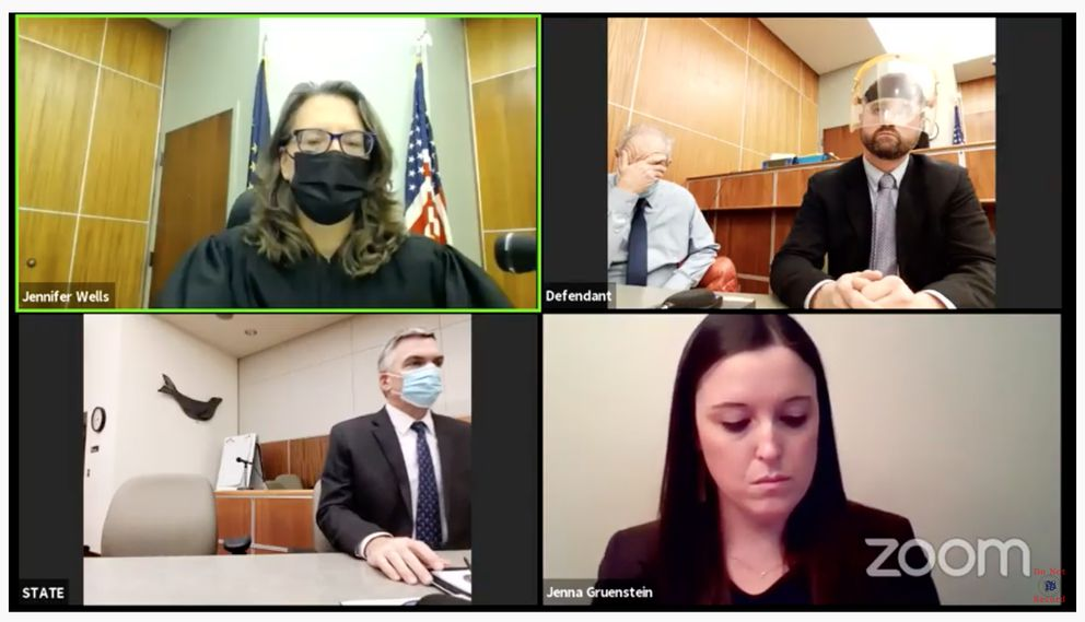 Carmen Perzechino buries his face in his hand after he was found guilty of rape and kidnapping in a cold case from 2001 on Nov. 4, 2020. In the Zoom proceeding screenshot are, from upper left, Superior Court Judge Jennifer Wells, defendant Carmen Perzechino, defense attorney Andy Pevehouse. Lower left, investigator Mike Burkmire and prosecutor Jenna Gruenstein. (Screenshot)