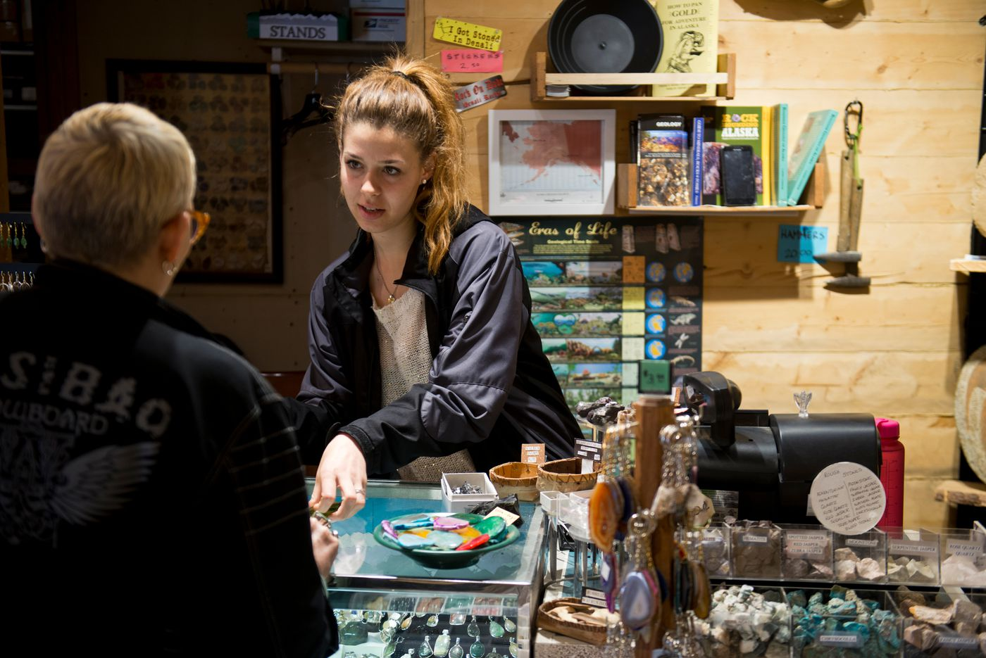 Ivanina Tsoneva works at Denali Rocks, a gem and mineral shop outside Denali National Park. Her time in Alaska represents is her first trip outside Bulgaria. She said she's working up to 13 hours a day at two jobs. (Marc Lester / Alaska Dispatch News)