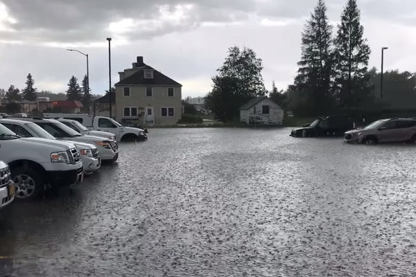 Valley flooding thunderstorms hail. Screen grab from borough FB video post.