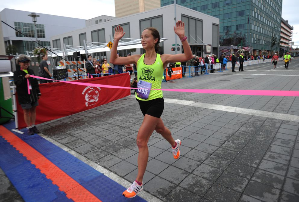 Anna Dalton wins the 2014 Skinny Raven Half Marathon. (ADN archives)