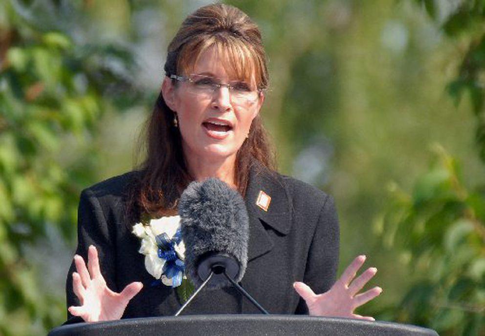 Alaska Gov. Sarah Palin gives her resignation speech during a ceremony at Pioneer Park in Fairbanks, Alaska, on Sunday, July 26, 2009, where Palin turned over power to Lt. Gov. Sean Parnell. (Bill Roth / ADN)