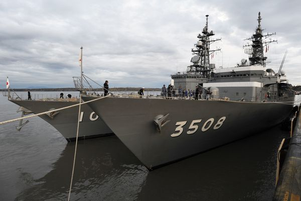 Two naval ships from the Japan Training Squadron, the destroyer Harusame (DD102), left, and the training ship Kashima (TV3508), right, moored at the Port of Anchorage on Wednesday morning, Sept. 27, 2017. The Japan Maritime Self-Defense Force ships are on an 163-day overseas training cruise that began in May and will cover approximately 30,000 nautical miles with ports of call in eight countries before retuning home on Nov. 1. Rear Admiral Koji Manabe said,