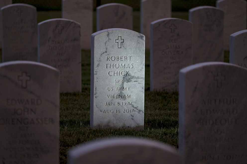 Robert Thomas Chick is buried in Fort Smith, Ark. He was 70 years old when he died of lung cancer that went undiagnosed for years. (Washington Post photo by Bonnie Jo Mount)