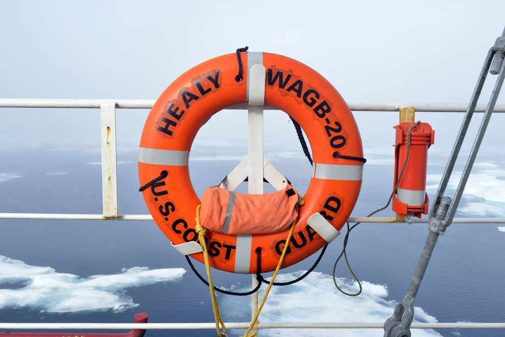 A life ring is mounted on a rail aboard the Coast Guard Cutter Healy while transiting through ice floe in the Arctic Ocean during its annual Arctic patrol in support of scientific research and Polar exploration, July 31, 2107. The Coast Guard's leadership role in providing a continued Arctic presence is essential to national security, maritime domain awareness, freedom of navigation, U.S. sovereign interests and scientific research. U.S. Coast Guard photo by Senior Chief Petty Officer Rachel Polish