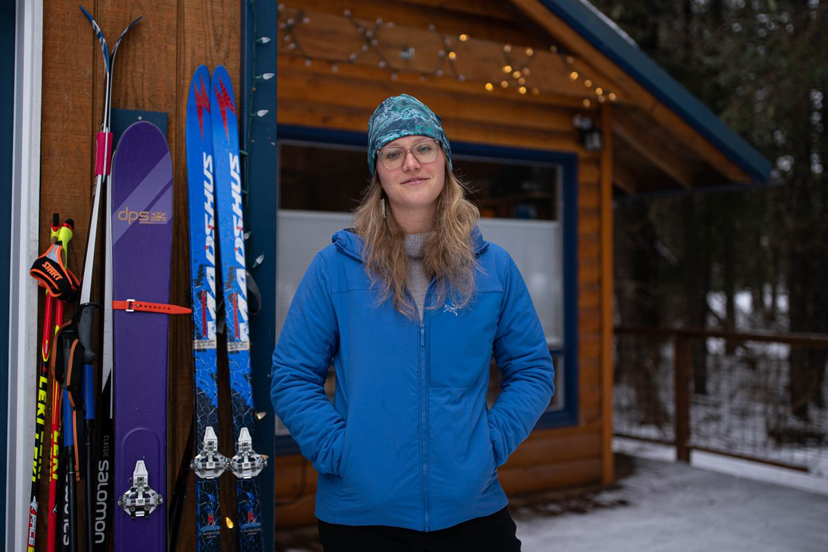 Tundra Travels owner Haley Johnston, photographed outside her home in Girdwood on Friday, Feb. 26, 2021. (Loren Holmes / ADN)
