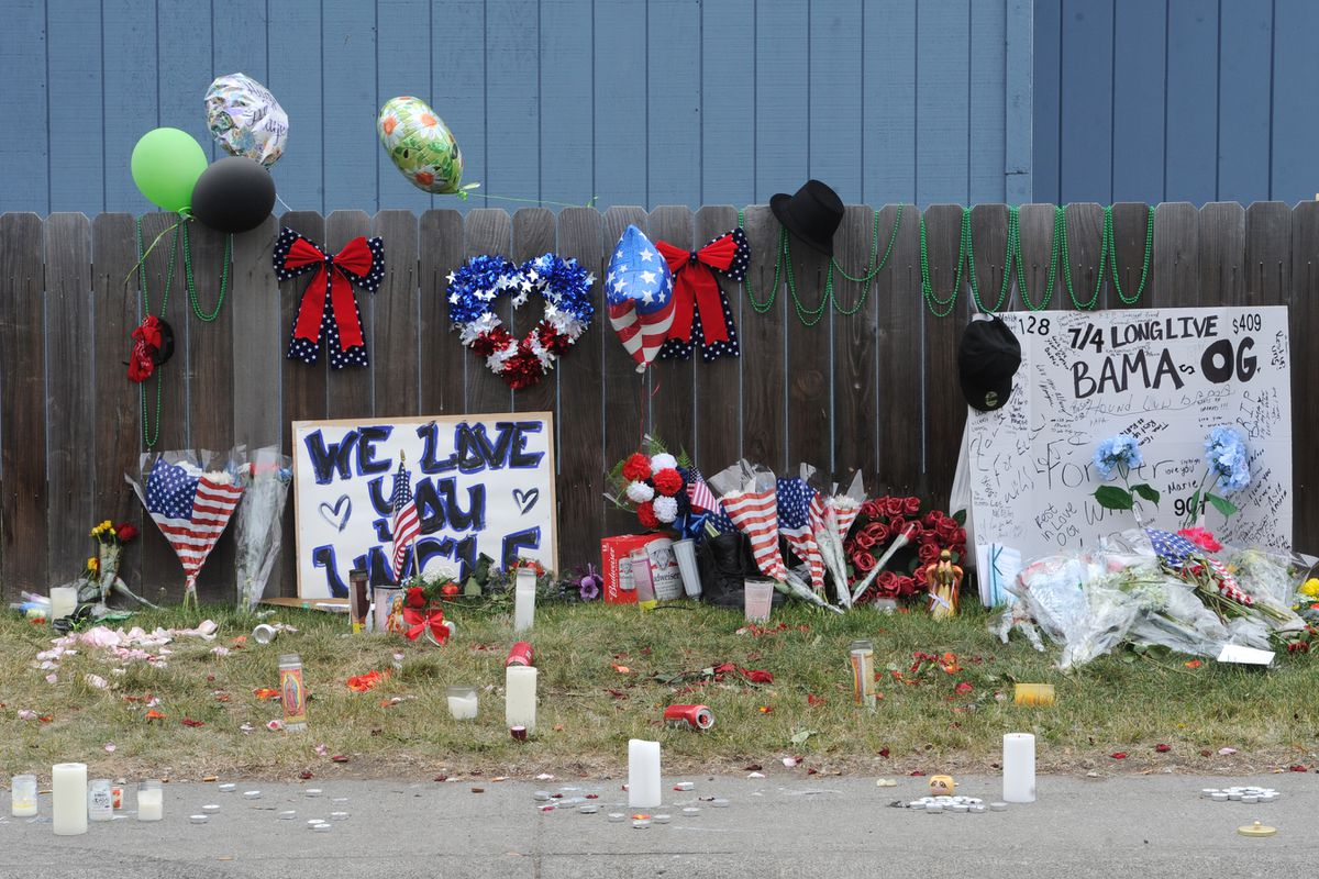 Memorial for Donald Jordan on Monday, July 6, 2020, who was fatally shot in Mt. View on the Fourth of July. (Bill Roth / ADN)