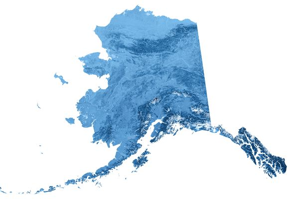 3D render and image composing: Topographic Map of Alaska, USA. Isolated on White. High quality relief structure!