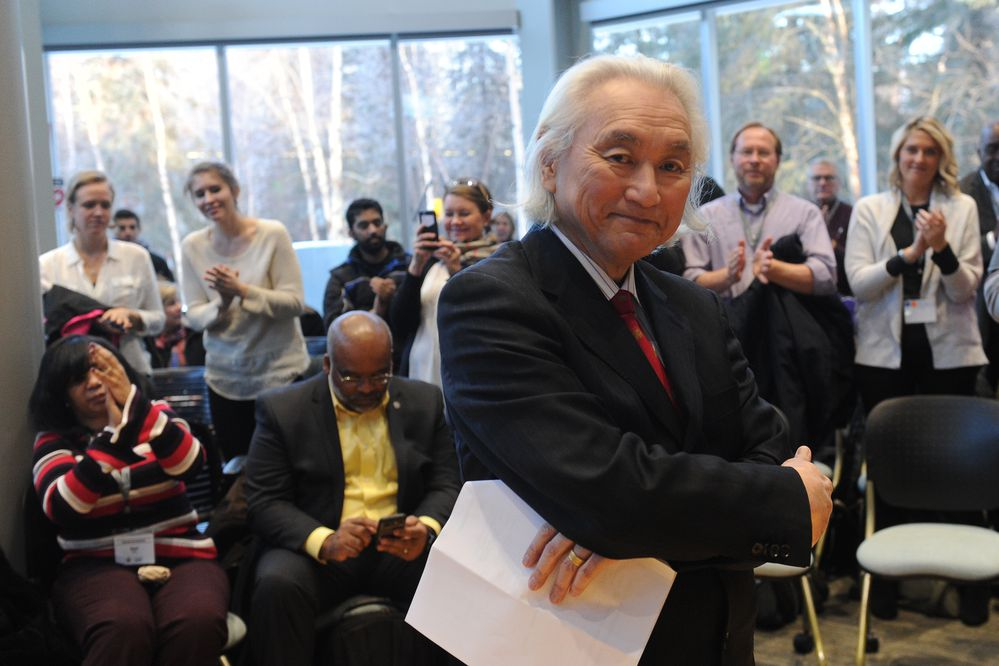 Physicist Dr. Michio Kaku talks to university, high school and elementary students at the University of Alaska Anchorage ANSEP building in Anchorage, Alaska on Friday, Jan. 19, 2018. Kaku is a world-renowned physicist, New York Times best selling author and the co-founder of string field theory. (Bob Hallinen / ADN)
