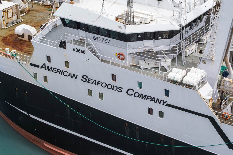 The American Triumph docks in Seward on Wednesday, July 22, 2020. American Seafoods, which operates the factory trawler, reported over the weekend that 85 crew members tested positive for COVID-19. The crew disembarked in Seward and will be transported by private bus to Anchorage where they will be isolated for further care. (Loren Holmes / ADN)