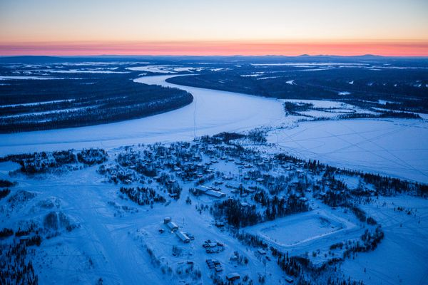 The village of Huslia, a new Iditarod checkpoint, on Thursday, March 12, 2015. Huslia has a long dog mushing tradition but has never been on the traditional Iditarod race route. (Loren Holmes / ADN)