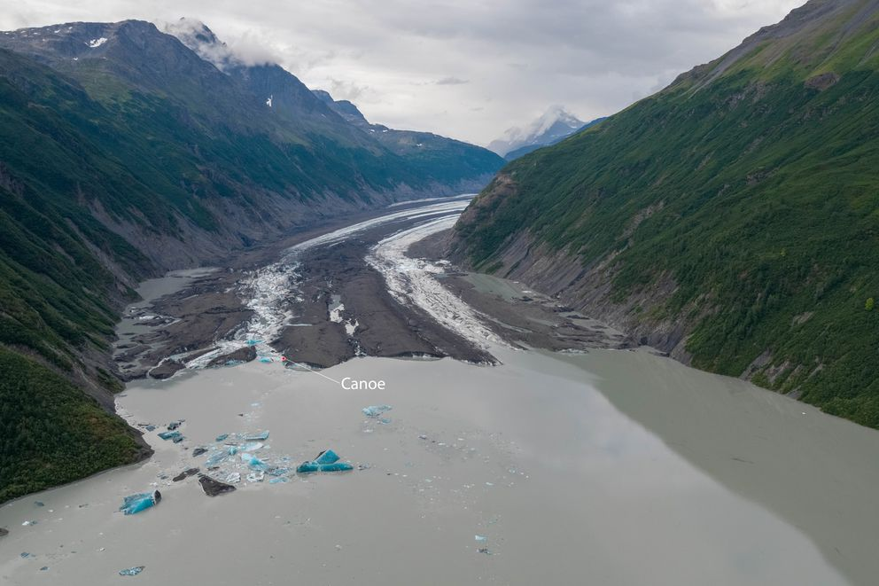 Valdez Glacier pictured an hour after an ice calving event on July 29, 2019, with a marker pointing to the spot where two German tourists and their Austrian guide were found dead the following morning. Police believe the two were traveling in an inflatable canoe. (Photo by Zach Sheldon)