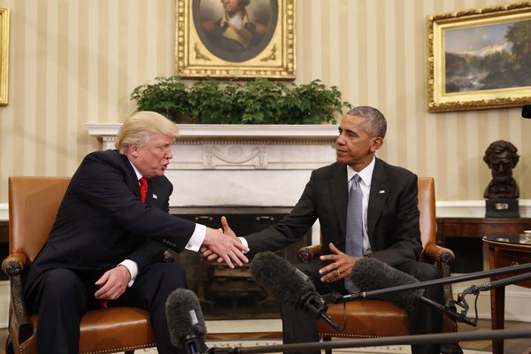 FILE - In this Nov. 10, 2016 file photo, President Barack Obama shakes hands with then-President-elect Donald Trump in the Oval Office of the White House in Washington. (AP Photo/Pablo Martinez Monsivais, File)